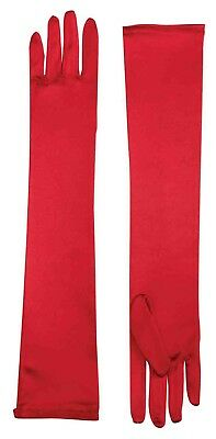 Long Red Adult Female Costume Satin Dress Gloves One Size