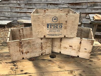4 Vintage Wooden Crates (old box shabby chic storage cool rustic wedding fruit)