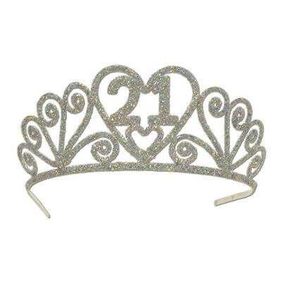 "Birthday ""21"" Silver Spakle Tiara Adult Crown"