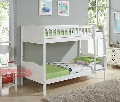 Kids Bunk Bed 3FT Single Pine Wooden Frame in White or Natural Pine Full Panel