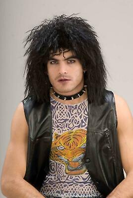 80's Rock Star Black Adult Costume Wig