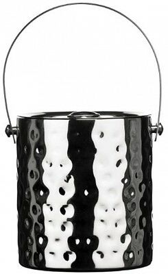 Premier Housewares Ice Bucket With Lid - Hammered Stainless Steel