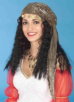 Gold Gypsy Headscarf And Black Wig Costume Accessory One Size