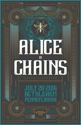 """Alice in Chains 18x27"""" Illustrated Concert Poster Bethlehem, PA"""