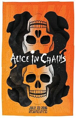 """Alice in Chains 18x27"""" Illustrated Concert Poster Atlantic City, NJ"""