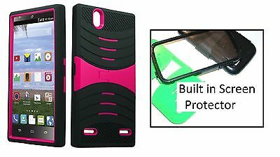 brand new 4db6b 1b8d3 ZTE LEVER LTE / Z936L Rugged Phone Case with BUILT in Screen - Black/Pink