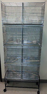 NEW CAMBO 4 of Bird Finch Canary Breeder Cages With Rolling Stand Large 2421-586