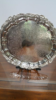 "Antique Heavy 13"" Round Silverplated Footed Serving Platter Tray, Ornate"