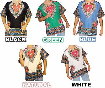 Mens Daisy Heart Print Dashiki Shirt 100% Cotton by American Dashiki