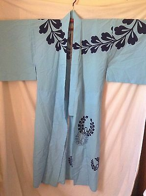 Authentic Japanese Kimono Blue Design Dress Robe Lightweight