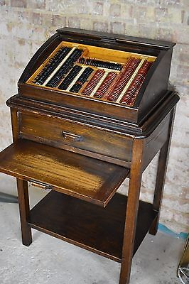 Antique Optician eye lens examination cabinet tambour oak optometrists optometry