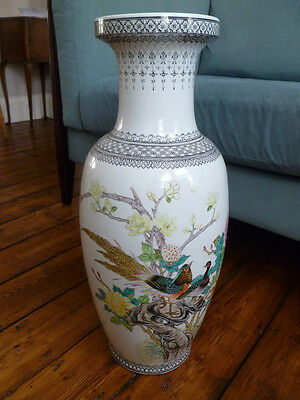 Large Floor Standing Chinese Porcelain Vase with Peacocks