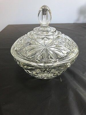New Clear Crystal Anchor Hocking Prescut EAPC Small, Lidded, Covered Candy Dish