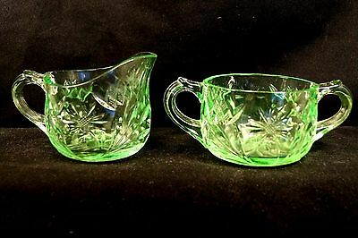 "1930s US Glass Green ""Floral & Diamond Band"" Depression Glass Creamer & Sugar"