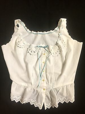 French Antique Victorian  Era Corset Cover Camisole Hand Embroidered