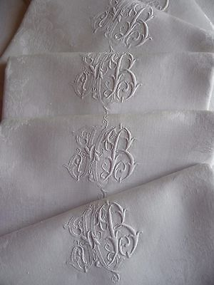 "8 Stunning Antique French Linen Napkins ""ab"" White Dinner Napkins Large Napkins"