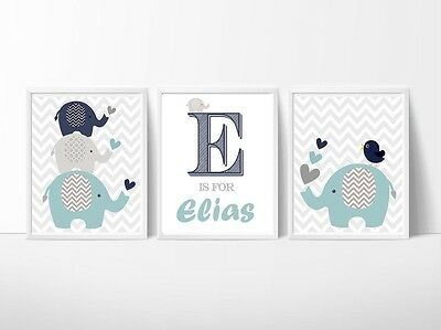 Custom Baby Name Print Nursery Wall Art Set of 3