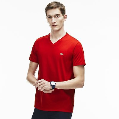 Lacoste V Neck Pima Cotton Jersey T Shirt # TH6710 51 240 Red