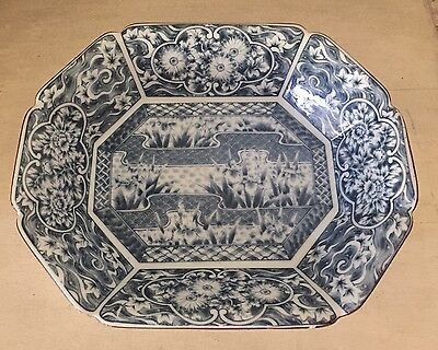 "Antique Vintage Blue & White Floral Porcelain Bowl Chinese? Asian 11.75"" Tray"