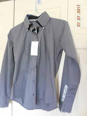 Grey Button Down Cotton/Lycra HMS Size L Shirt Show Western Any Event  NWT!!