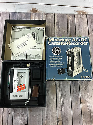 GE Miniature AC/DC Cassette Recorder 3-5316 with Instructions Earphone and Box