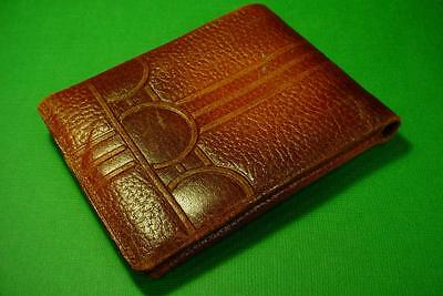 VINTAGE ART DECO 1940s MENS LEATHER WALLET
