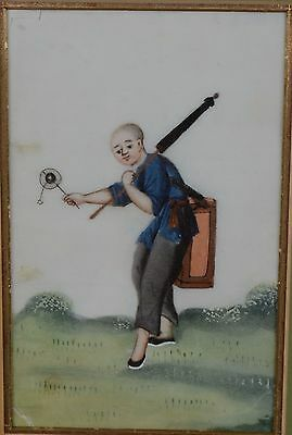 Fine Antique Chinese Rice Pith Paper Painting Man With Parasol