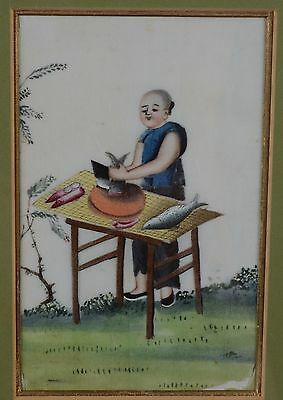 Fine Antique Chinese Rice Pith Paper Painting Woman Chopping Up Fish