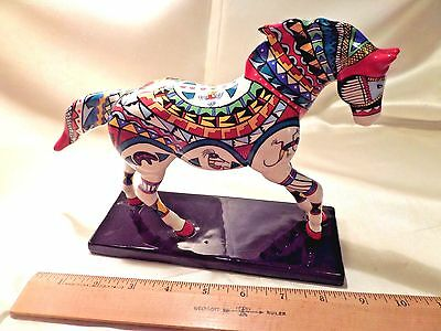 """Ceramic Horse Figurine By Linda Hassett, """"many Tribes,"""" Trail Of Painted Ponies"""