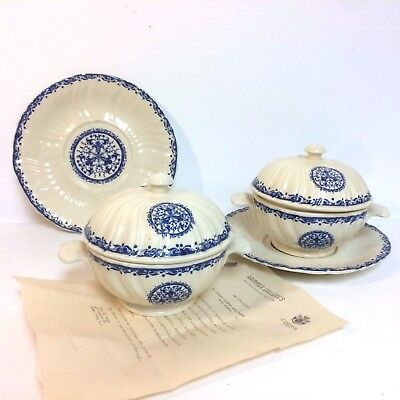 Pair of Gien Faience Covered Tureens W/ Underplate Flow Blue Decor Circa 1930's