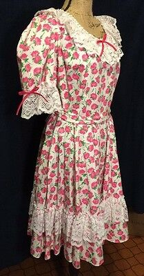 Vintage Partners Please by Malco Modes Pink & White Square Dancing Dress Size 14