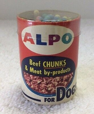 Mini Vintage Alpo Dog Food Can w/ Diamond Matches Beef Scramble NOS Advertising