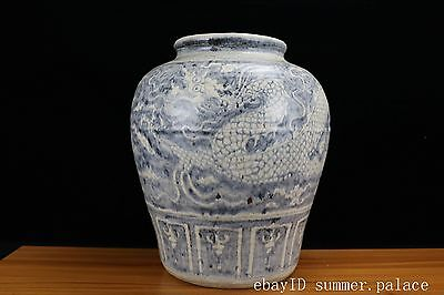Chinese Fine huge Beautiful Blue and white Porcelain Dragon pot