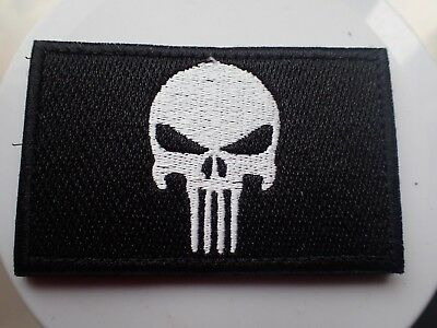 New Punisher Black & White Tactical Morale Hook Loop Patch Aussie Stock