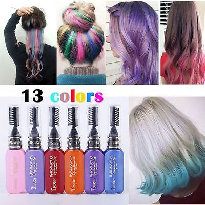 13 Colors Wash-Out Non-toxic Mascara Style Temporary Hair Dye Highlights Salon