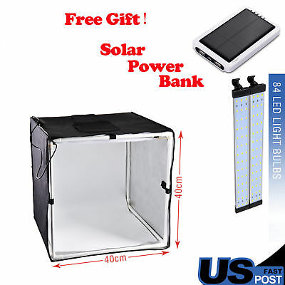 PHOTO MASTER 60cm Square Studio Soft Box tent +Led Light +3 Background Backdrop