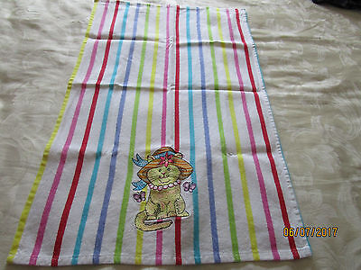 Cotton Tea Towel - Striped With Embroidered Cat  Wearing A Hat