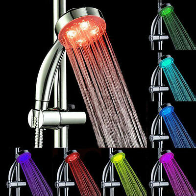 7 Color LED Changing Light Bright Water Bath Home Bathroom Shower Head Glow  KF