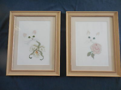 Craft Hand Made Cross Stitch Cats Pair Completed And Beautifully Framed
