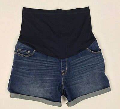 Liz Lange Maternity Medium Stretch Denim Jean Shorts Dark Wash Cuff  Belly Panel