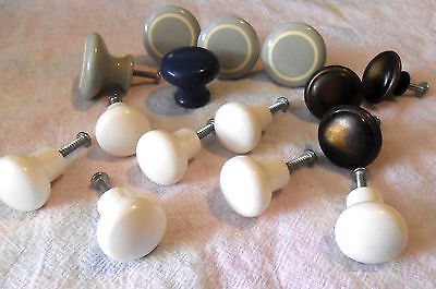 Lot of 15 Vintage Round Drawer KNOBS / Pulls, Bakelite Plastic Metal, White Gray
