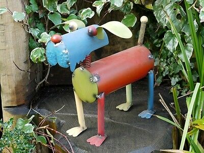 New Wobbly Tin Dog Animal Decorative Garden Sculpture Statue Ornament Large 40cm