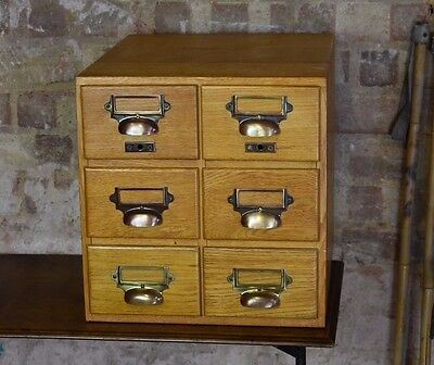Antique oak library index filing drawers cabinet office furniture vintage