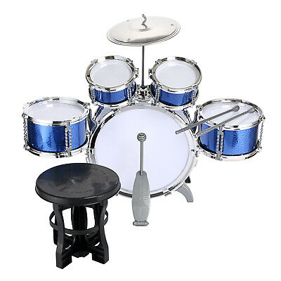 Children Kids 5 Toy Drum Set Kit Musical Fun Toy Drum Stool & Sticks