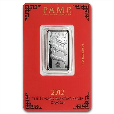 PAMP Suisse Lunar Year of the Dragon 2012 10 g gram .999 Silver Bar (in Assay)