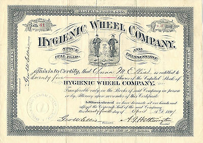 PENNSYLVANIA 1897, Hygienic Wheel Co.  Stock Certificate Philadelphia Bicycles