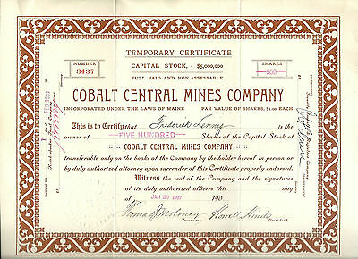 CANADA, Cobalt Central Mines Company 1907 Temporary Stock Certificate, Maine,
