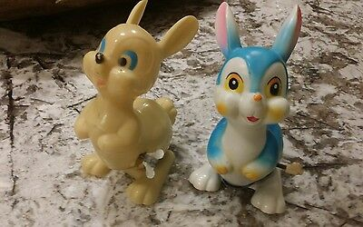 2 Vintage Wind Up Celluloid Easter Blue Bunny Toy Japan  1 Easter Unlimited NY