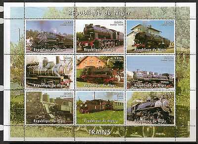 Niger 1999 Steam Trains Sheetlet Mnh