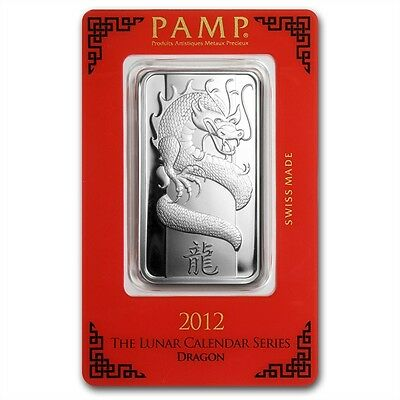 PAMP Suisse Lunar Year of the Dragon 2012 1 oz .999 Silver Bar (in Assay)